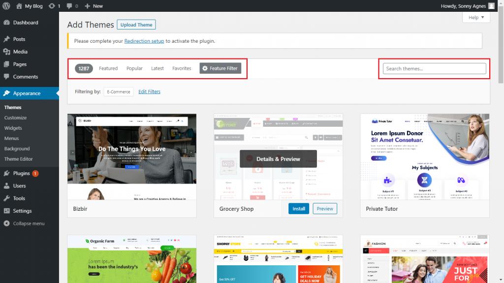 Download WordPress Theme 2 dari Dashboard WordPress