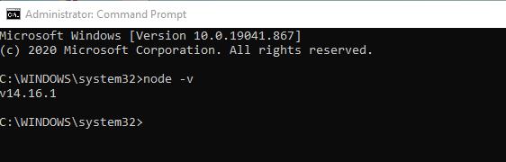 gambar 2 - Cek versi Node JS