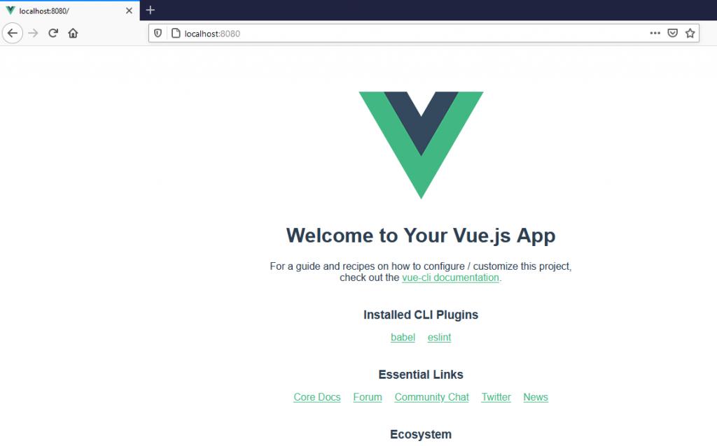 gambar 8 - Tampilan Welcome hasil instalasi VueJS