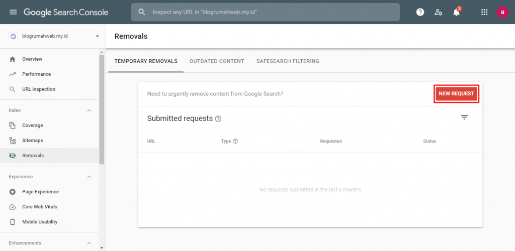 image 3 - Klik New Request pada kolom Temporary Removals - Cara Menghapus URL dari Google
