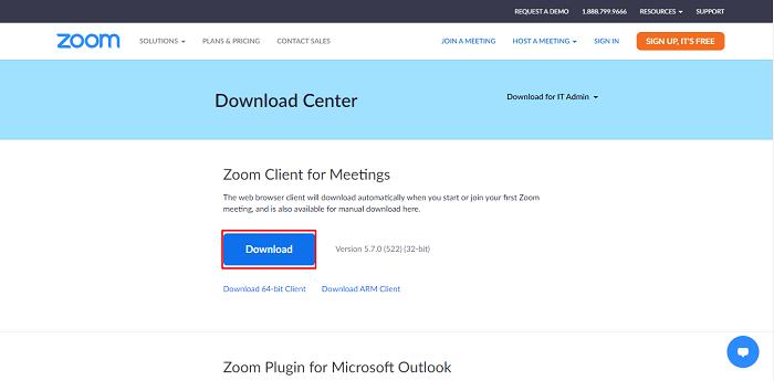 Langkah selanjutnya untuk download aplikasi zoom adalah klik tombol Download