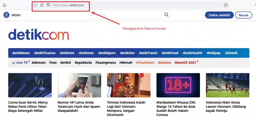 sebuah domain yang diakses melalui browser - dns adalah