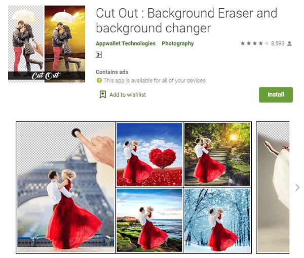 Cut Out : Background Eraser and background changer - Aplikasi Edit Background Foto