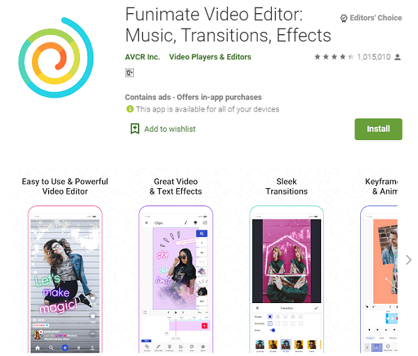 Funimate Video Editor: Music, Transitions, Effects