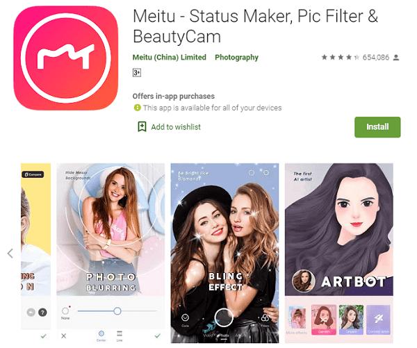 Meitu - Status Maker, Pic Filter & BeautyCam - Aplikasi Edit Foto Jadi Anime