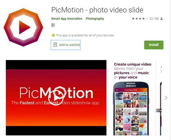 PicMotion - Aplikasi Edit Foto Jadi Video Gratis