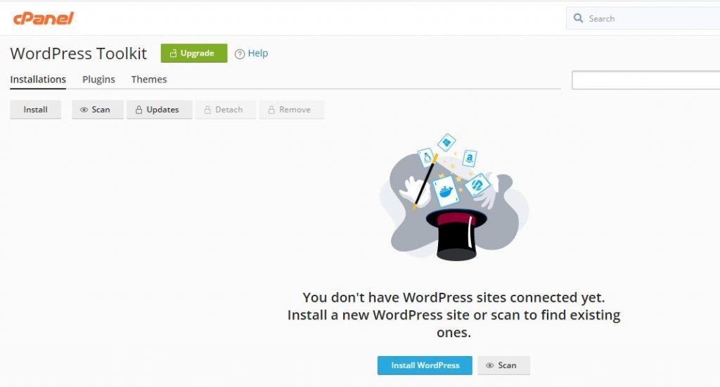 tampilan default wordpress toolkit